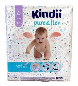 Kindii Pure & Flex Pieluchy jednorazowe 4 (7-14kg)  1op.-64szt
