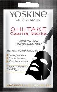 Yoskine Geisha Mask Shiitake Czarna Maska na tkaninie nawilżająca i zwężająca pory  20ml