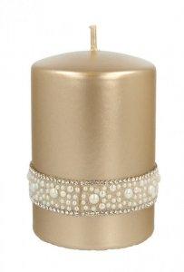 ARTMAN Świeca ozdobna Crystal Opal Pearl - walec mały złoty 1szt