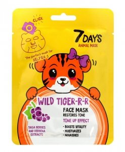 VILENTA 7 Days Animal Maska na twarz w płacie rewitalizująca Wild Tiger -R-R 28g