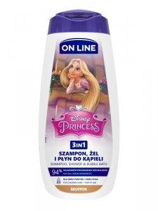 On Line Disney Żel pod prysznic 3w1 dla dzieci Princess - Muffin 400ml