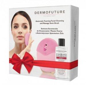 Dermofuture Technology Szczoteczka soniczna do twarzy ze spieniaczem różowa + żel  1op.