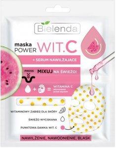 Bielenda Power Vit.C Maska w płacie + Serum nawilżające Arbuz  22ml