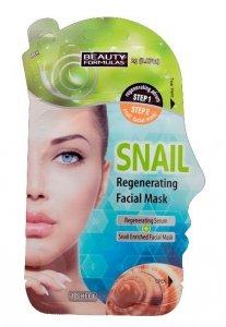Beauty Formulas Maska do twarzy regenerująca ze śluzem ślimaka 2g+1 maska