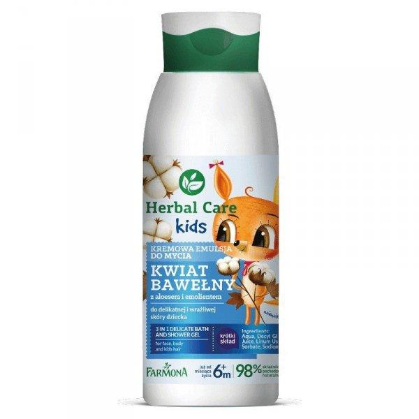 Farmona Herbal Care Kids Kremowa Emulsja do mycia dla dzieci Kwiat Bawełny  400ml