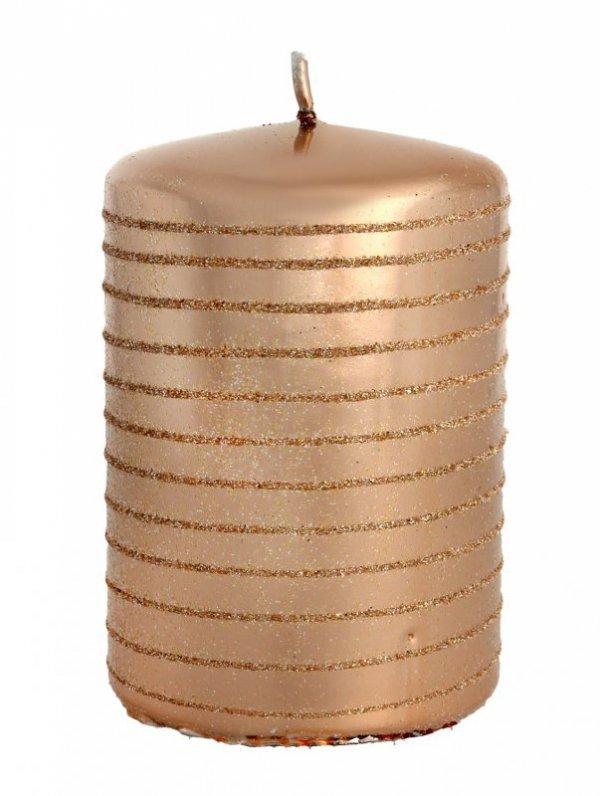 ARTMAN Boże Narodzenie Świeca ozdobna Andalo Metalic rose gold - walec mały 1szt