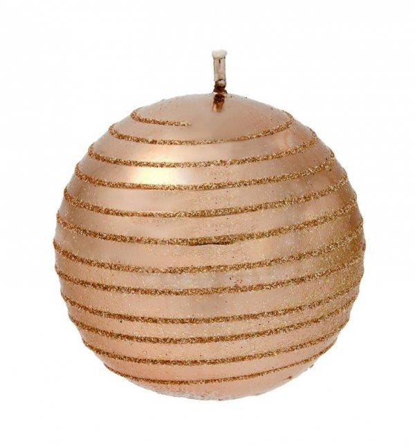 ARTMAN Boże Narodzenie Świeca ozdobna Andalo Metalic rose gold - kula mała 1szt