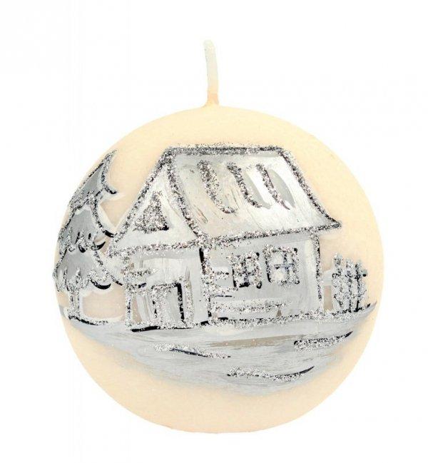 ARTMAN Boże Narodzenie Świeca ozdobna Kraina Lodu kremowa - kula średnia 1szt