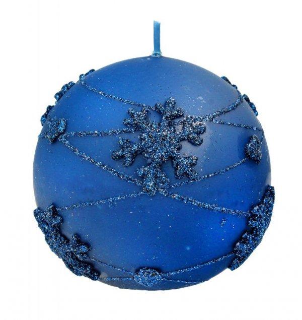 ARTMAN Boże Narodzenie Świeca ozdobna Snowflakes granatowa - kula mała 1szt