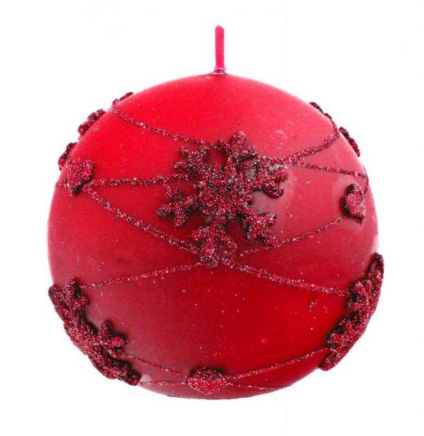 ARTMAN Boże Narodzenie Świeca ozdobna Snowflakes czerwona - kula duża 1szt