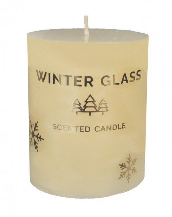 ARTMAN Boże Narodzenie Świeca zapachowa Winter Glass kremowa - walec mały 1szt