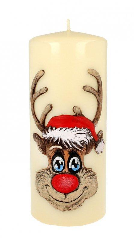 ARTMAN Boże Narodzenie Świeca ozdobna Rudolf kremowy - walec duży 1szt