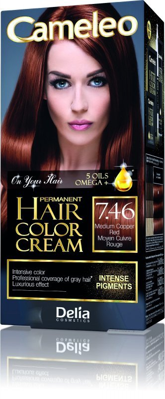 Delia Cosmetics Cameleo HCC Farba permanentna Omega+ nr 7.46  Medium Copper Red  1op.