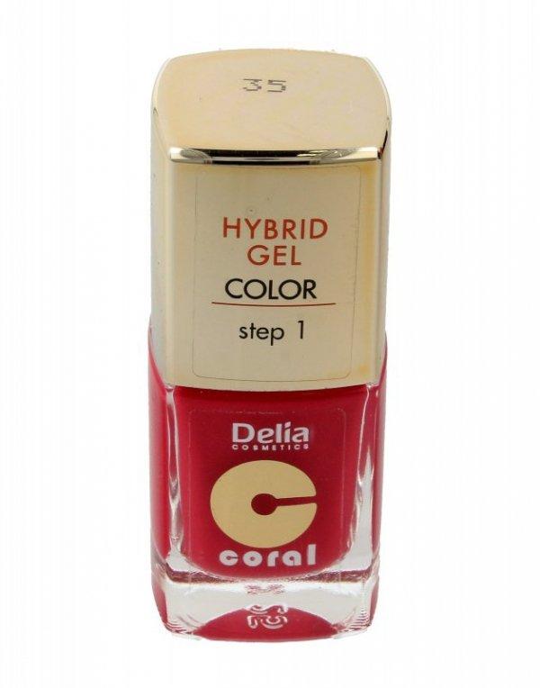 Delia Cosmetics Coral Hybrid Gel Emalia do paznokci nr 35 czerwony koralowy 11ml