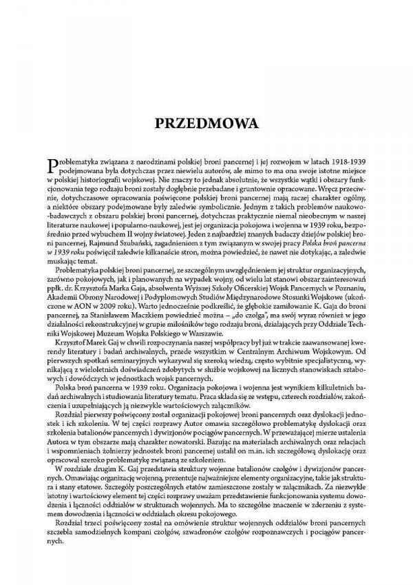 Polska broń pancerna w 1939r. Organizacja pokojowa i wojenna jednostek