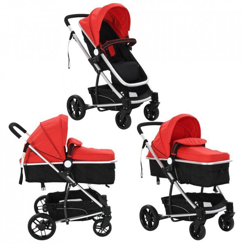 Wózek spacerowy 2w1 (gondola i spacerówka) czerwony i czarny