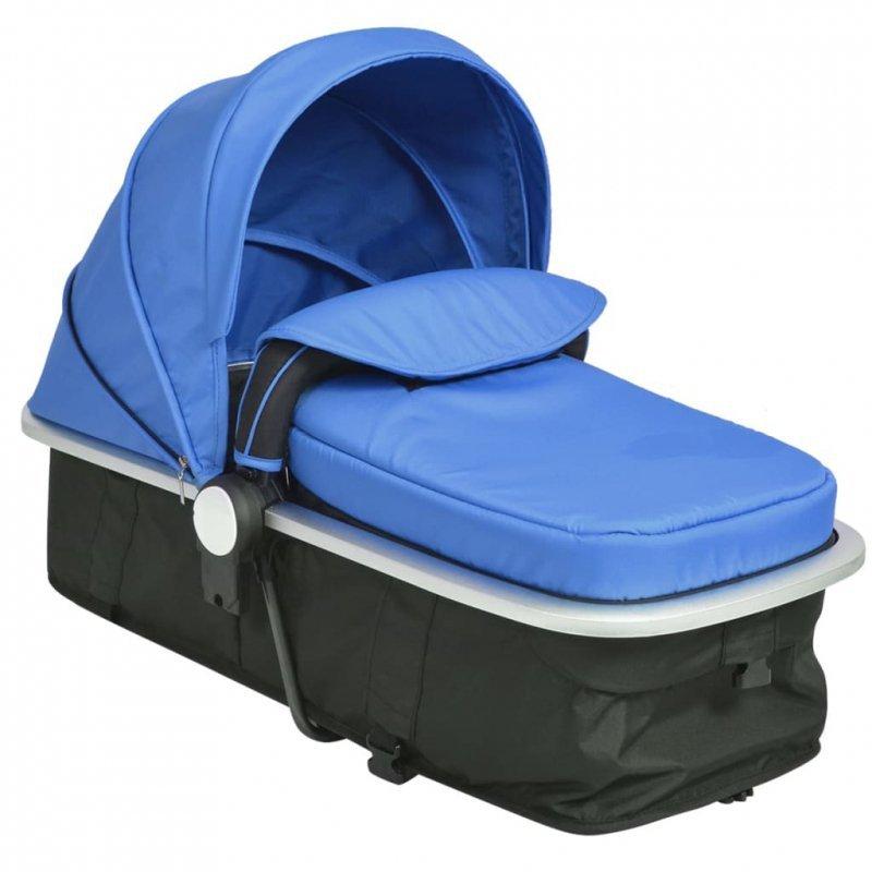 Wózek spacerowy 2w1 (gondola i spacerówka) niebieski i czarny