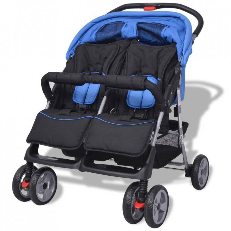 Wózek spacerowy dla bliźniaków niebieski i czarny