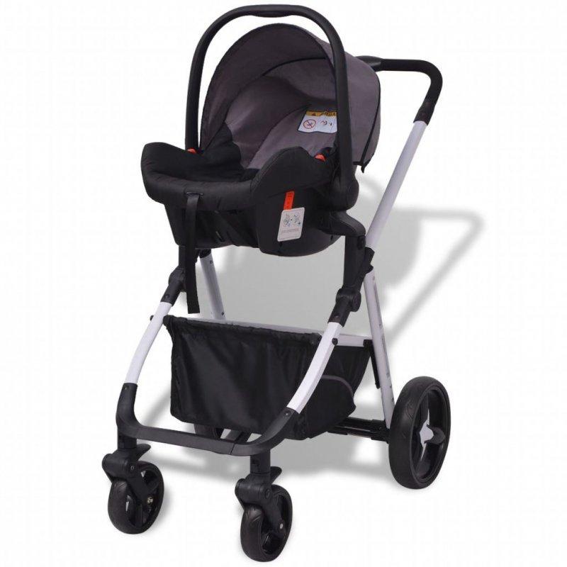 Wózek 3-w-1, aluminium, szaro-czarny