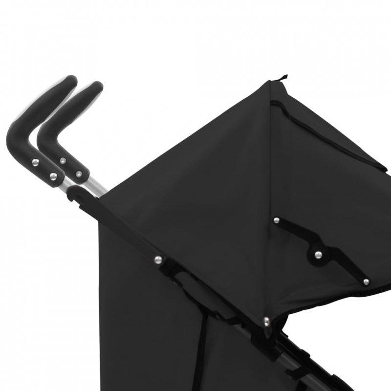 Składany wózek spacerowy 2-w-1, czarny, stal