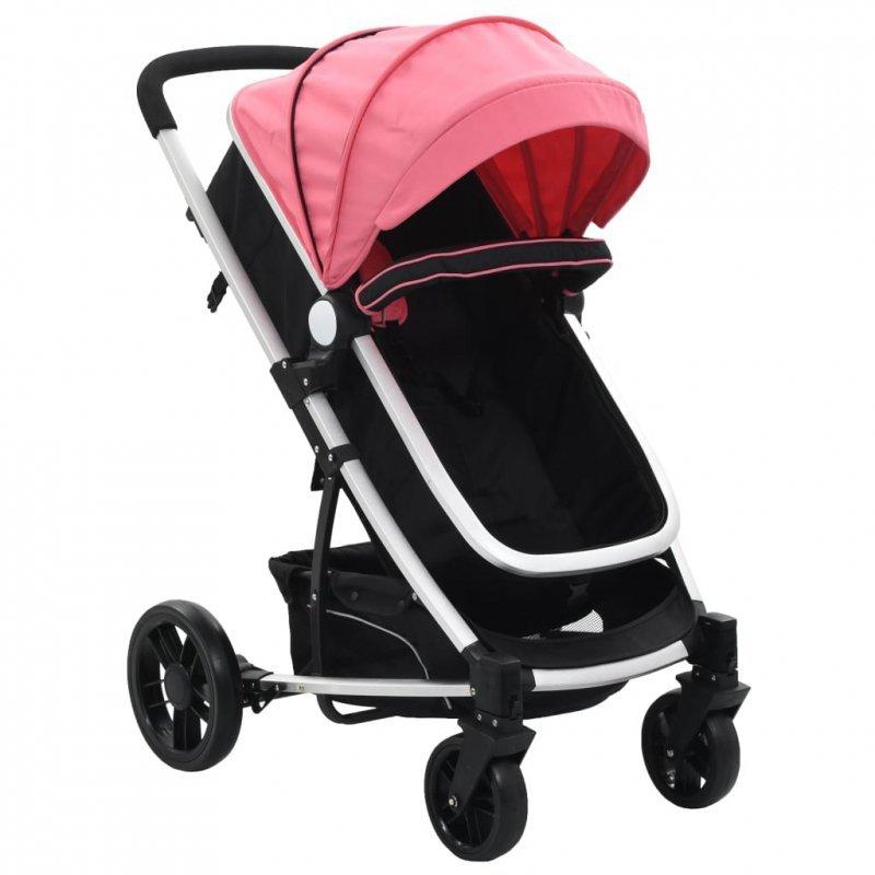 Wózek spacerowy 2w1 (gondola i spacerówka), różowo-czarny