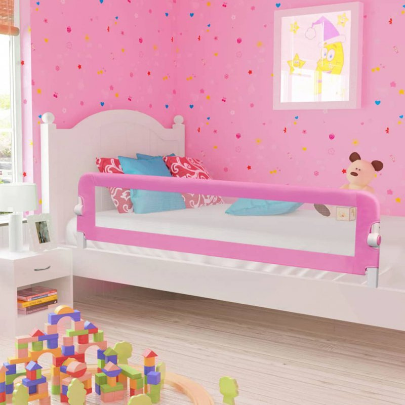 Barierka do łóżeczka dziecięcego, różowa, 180x42 cm, poliester