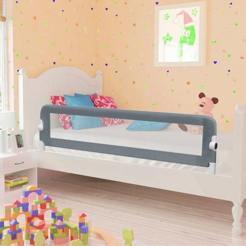 Barierka do łóżeczka dziecięcego, szara, 120x42 cm, poliester