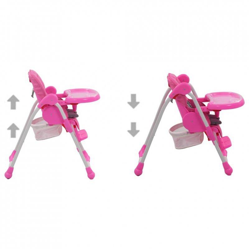 Krzesełko do karmienia dzieci, różowo-szare