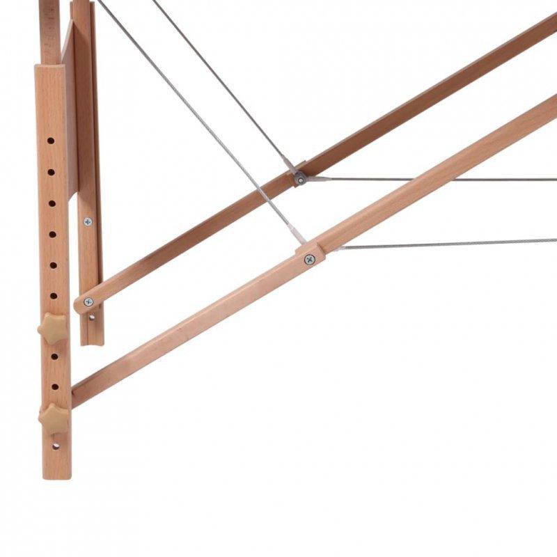 Czarny składany stół do masażu 2 strefy z drewnianą ramą