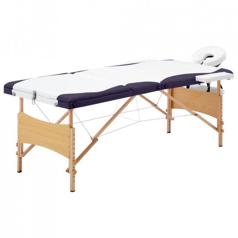 Składany stół do masażu, 3 strefy, drewniany, biało-fioletowy