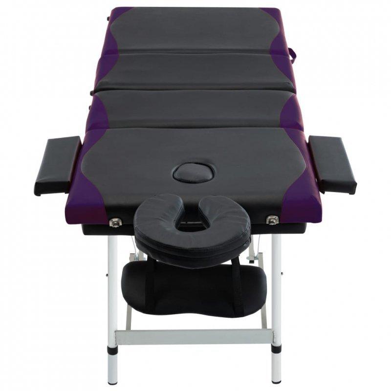 4-strefowy, składany stół do masażu aluminium, czarno-fioletowy