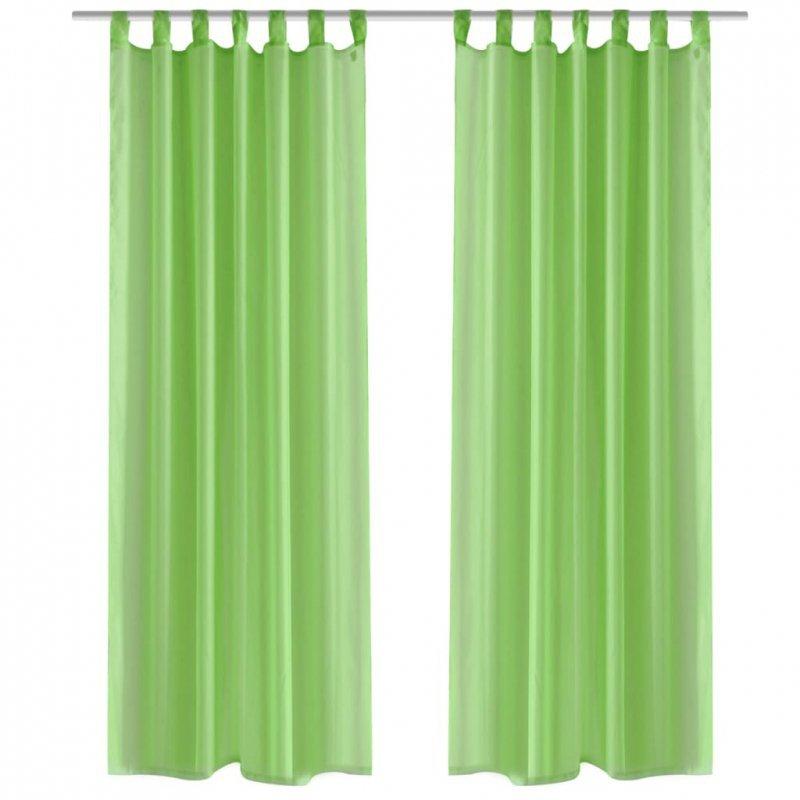 Zasłona na szelkach, prześwitująca, zielona, 140 x 175 cm, 2 sztuki