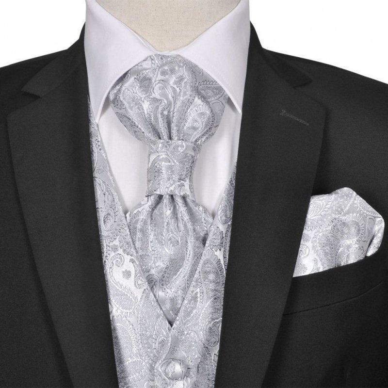 Męska kamizelka ślubna z akcesoriami, wzór paisley, 54, srebrna