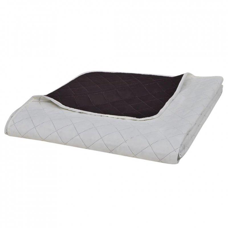 Dwustronna pikowana narzuta na łóżko Beż/Brąz 170 x 210 cm
