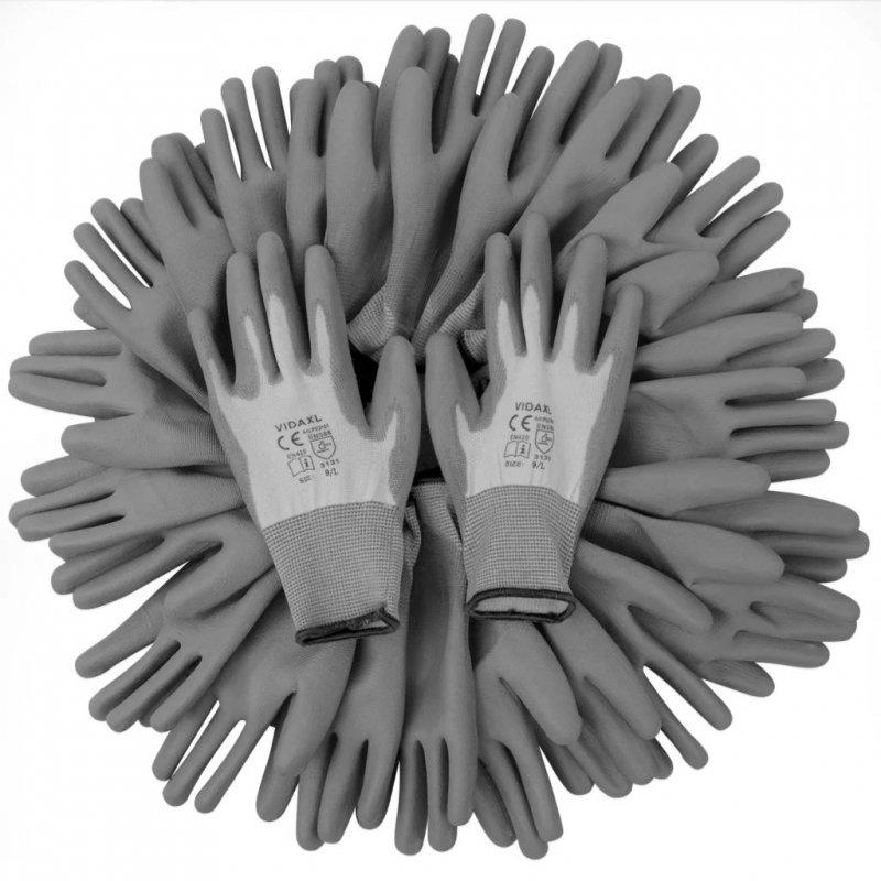 Rękawice robocze powlekane PU 24 pary biało-szare rozmiar 9/L