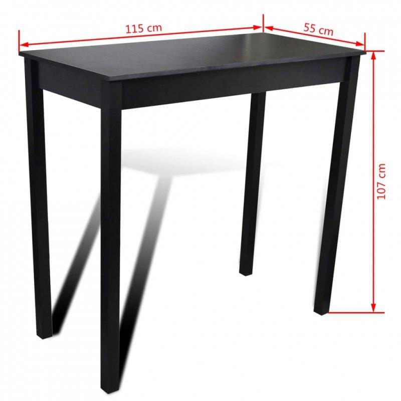Stolik barowy z MDF, czarny, 115 x 55 x 107 cm