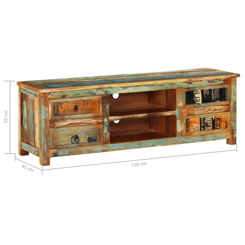 Szafka pod TV z drewna z odzysku, 4 szuflady