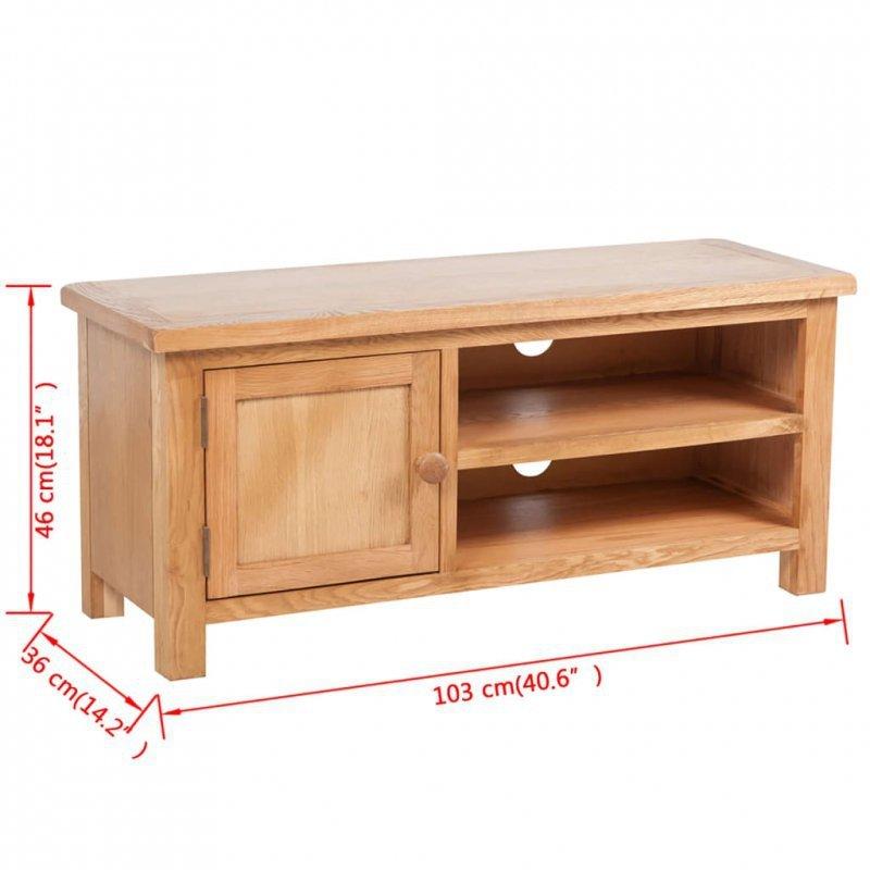Szafka pod TV, 103 x 36 x 46 cm, lite drewno dębowe