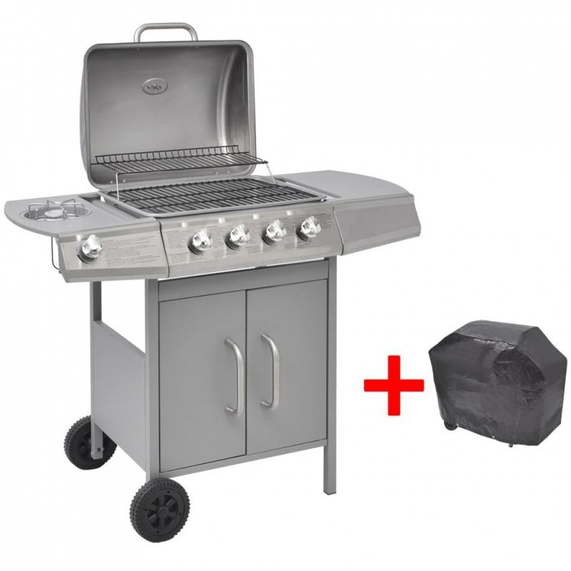 Grill gazowy ze strefą gotowania 4+1, kolor srebrny
