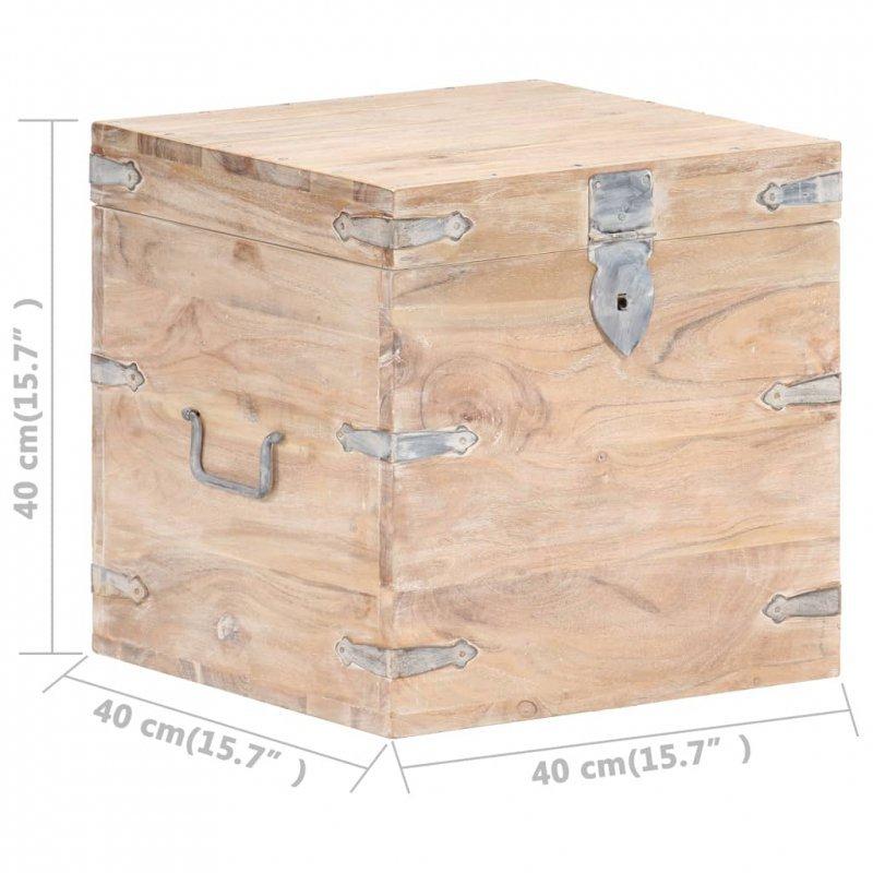 Skrzynia, 40x40x40 cm, lite drewno akacjowe