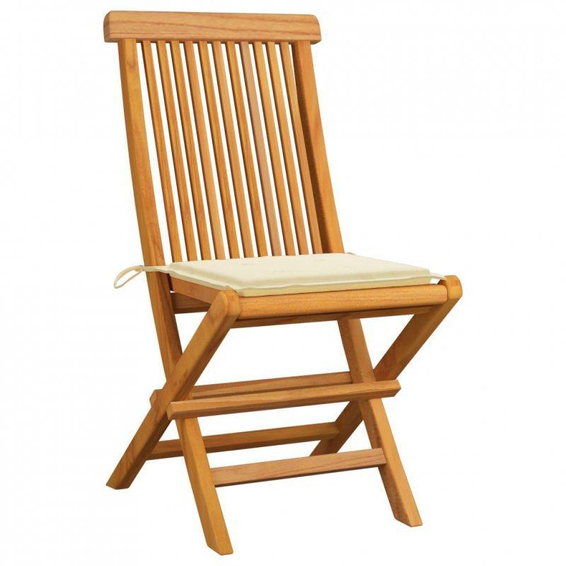 Krzesła ogrodowe, kremowe poduszki, 4 szt., lite drewno tekowe