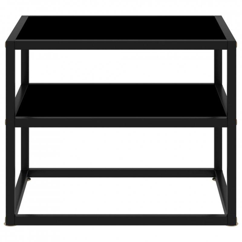 Stolik konsolowy, czarny, 50x40x40 cm, szkło hartowane