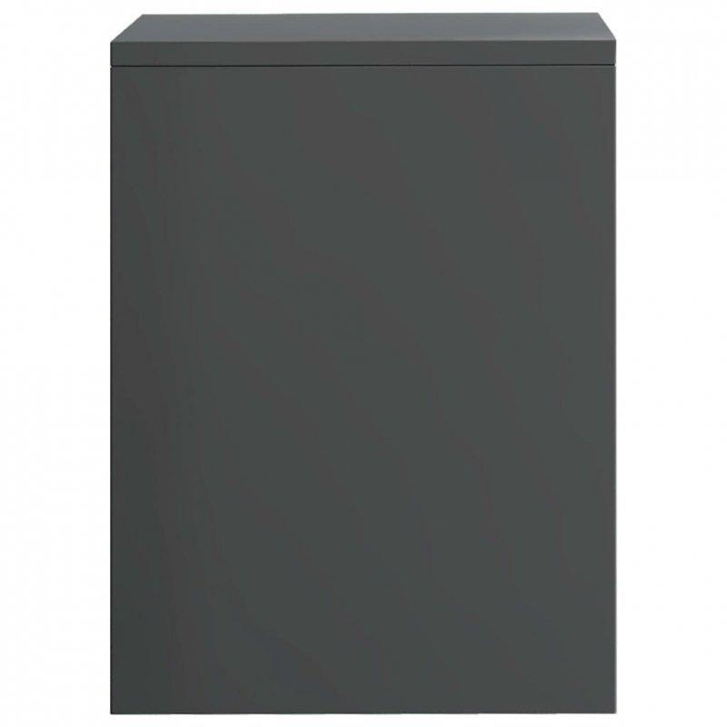 Szafka nocna, szara, wysoki połysk, 40x30x40 cm, płyta wiórowa