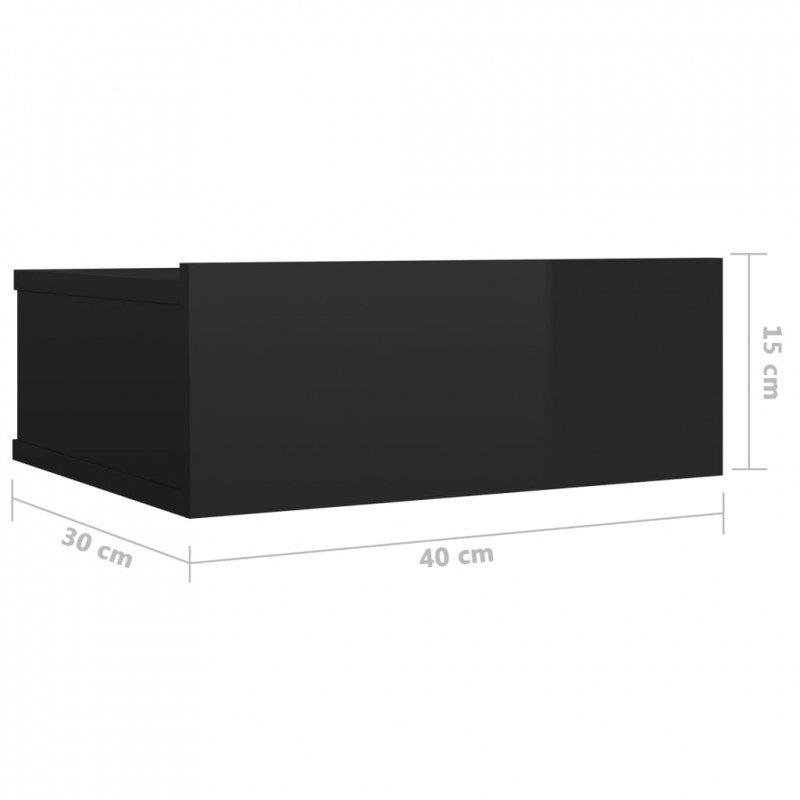 Wisząca szafka nocna, czarna, wysoki połysk, 40x30x15 cm