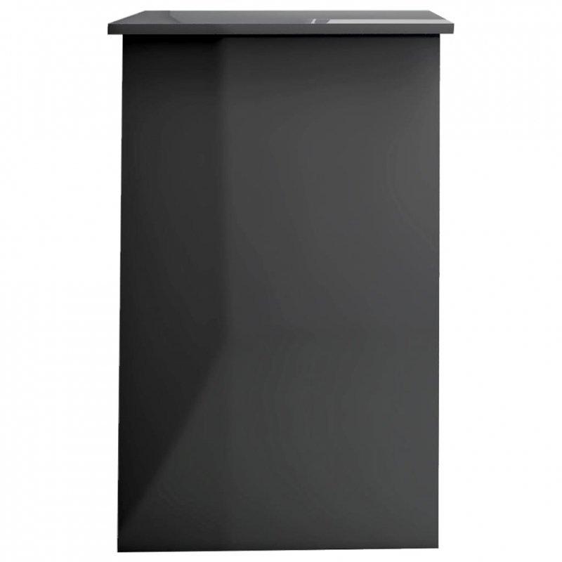Biurko, wysoki połysk, szare, 100x50x76 cm, płyta wiórowa