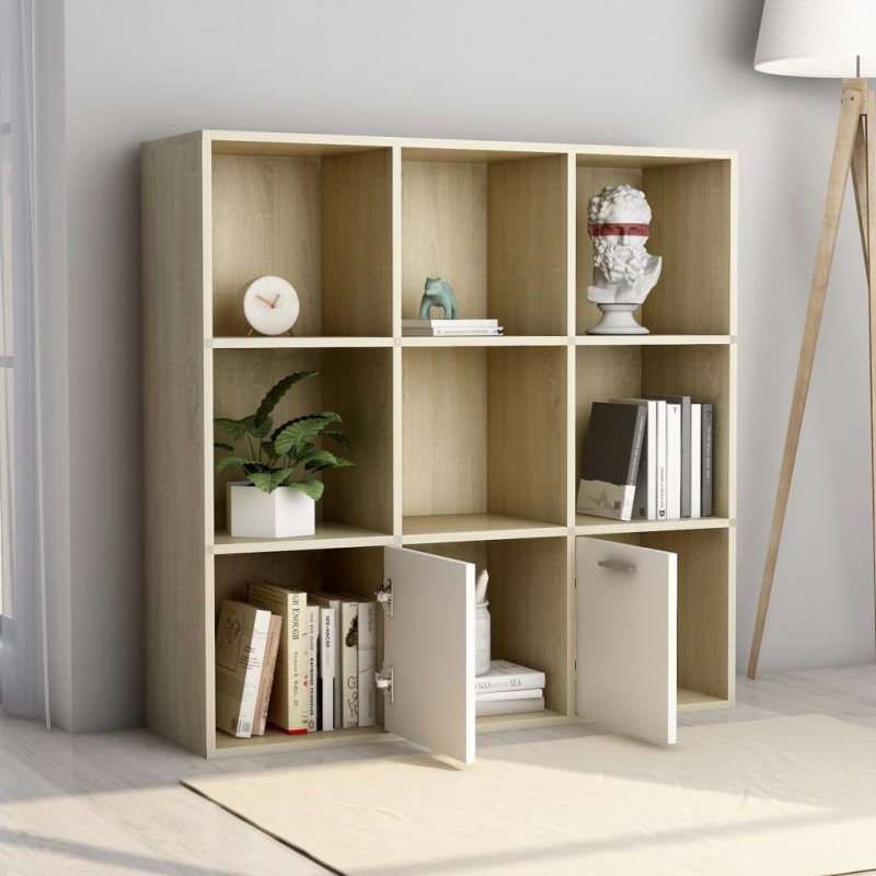 Regał na książki, biel i dąb sonoma, 98x30x98 cm, płyta wiórowa