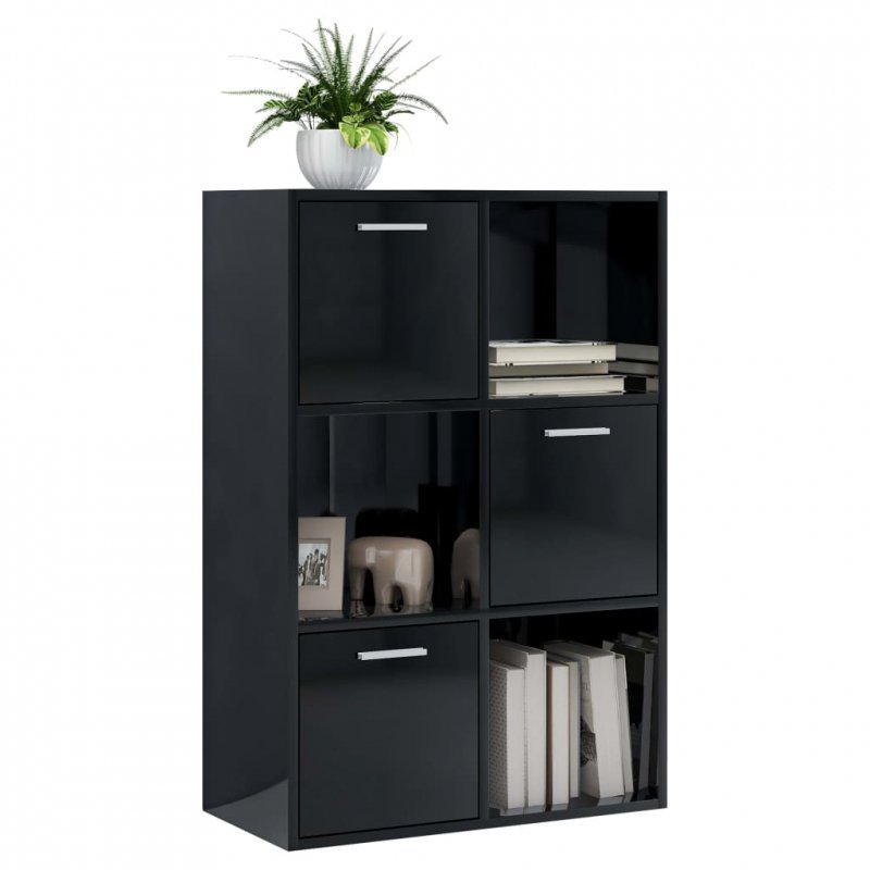 Szafka, czarna na wysoki połysk, 60x29,5x90 cm, płyta wiórowa