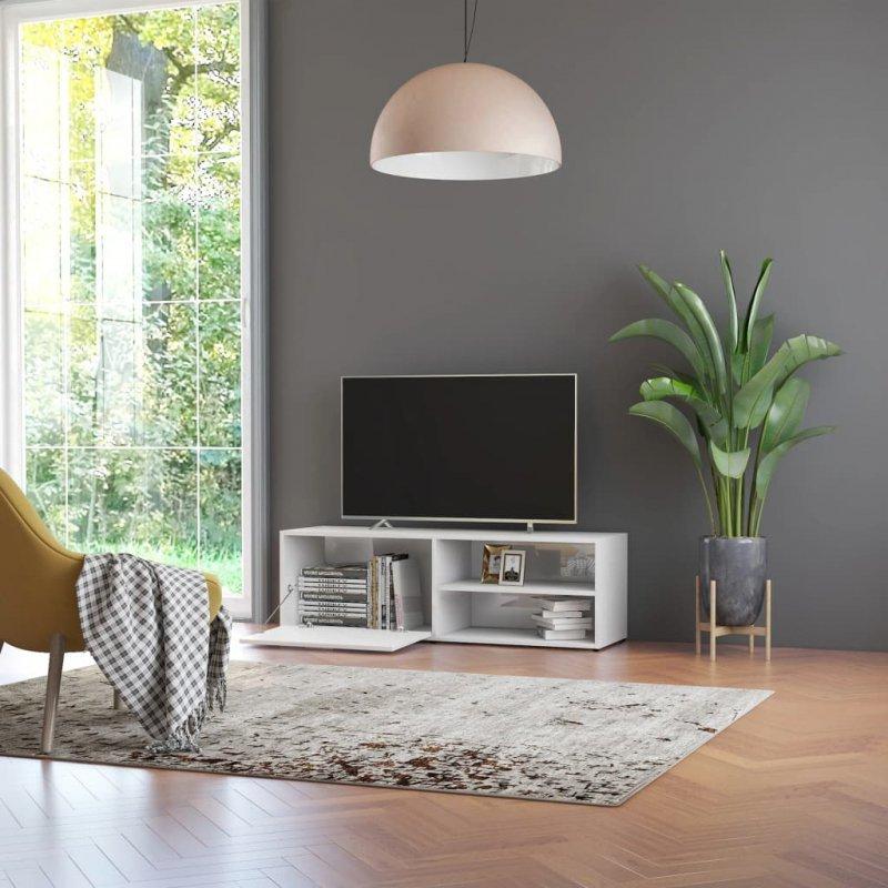 Szafka pod TV, wysoki połysk, biała, 120x34x37cm, płyta wiórowa