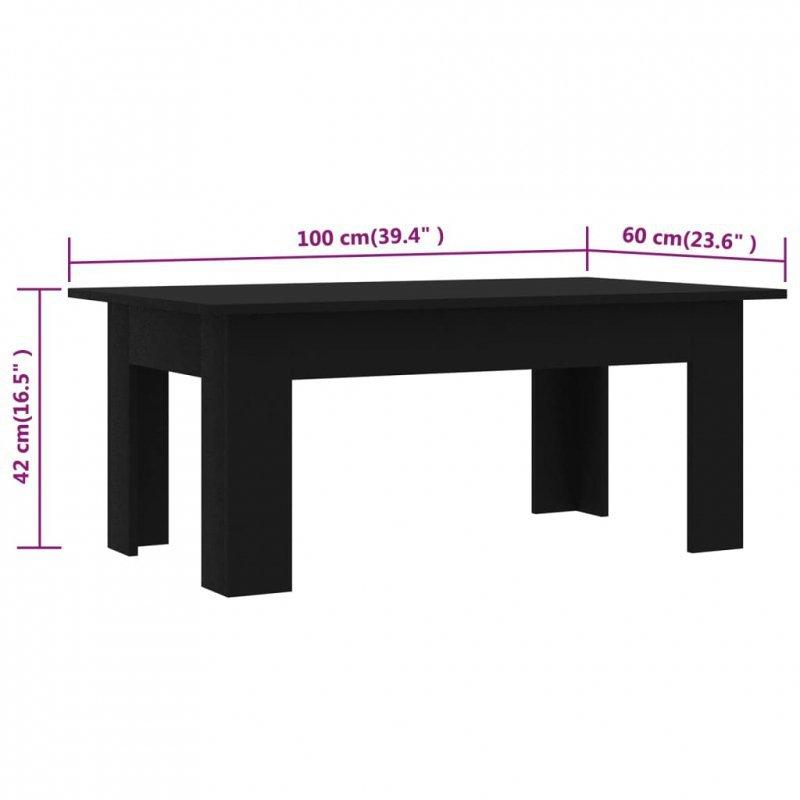 Stolik kawowy, czarny, 100x60x42cm, płyta wiórowa