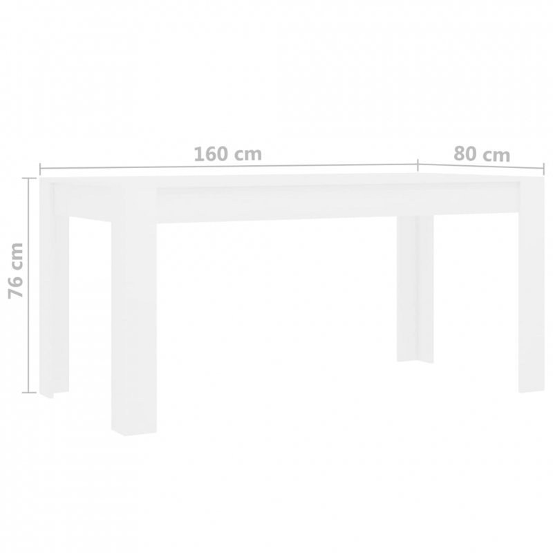 Stół jadalniany, biały, 160 x 80 x 76 cm, płyta wiórowa